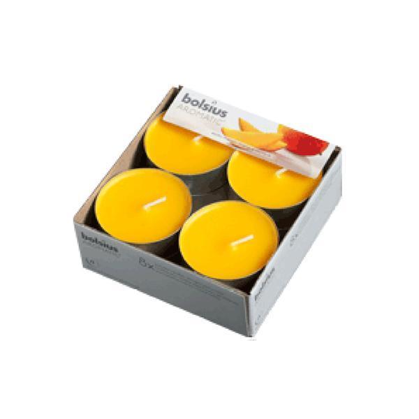 Svíčka čajová velká mango, set 8 ks, 5,7 x 2,1 cm