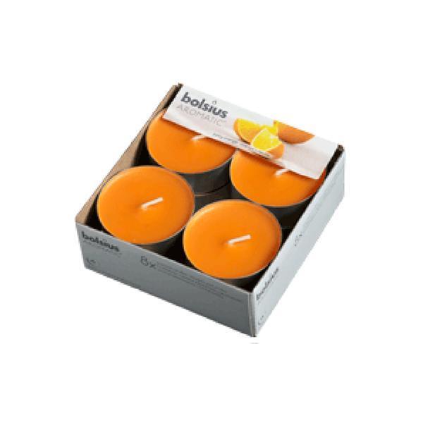 Svíčka čajová velká pomeranč, set 8 ks, 5,7 x 2,1 cm
