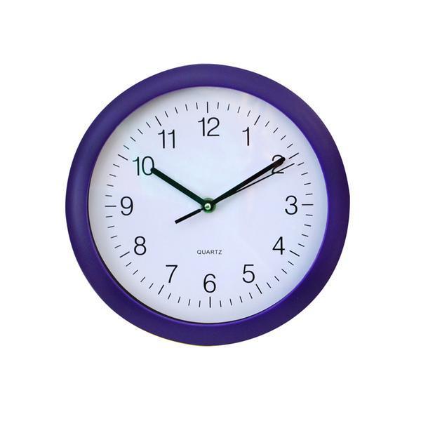 Nástěnné hodiny kulaté fialové, 25,1 x 2,1 cm