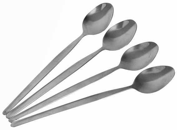 Lžička koktejlová, 4 ks, 19, 5 x 2, 9 x 0, 3 cm