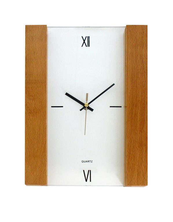 Nástěnné hodiny obdélník se dřevěným rámem, 30 x 22,3 x 2,8 cm