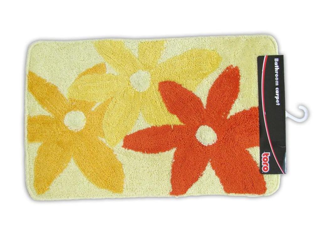 Koupelnová předložka, žlutá s květy, 50 x 80 cm