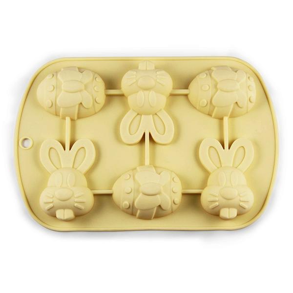 Forma silikon,velikonoční zajíc+vajíčko,6ks,krémová
