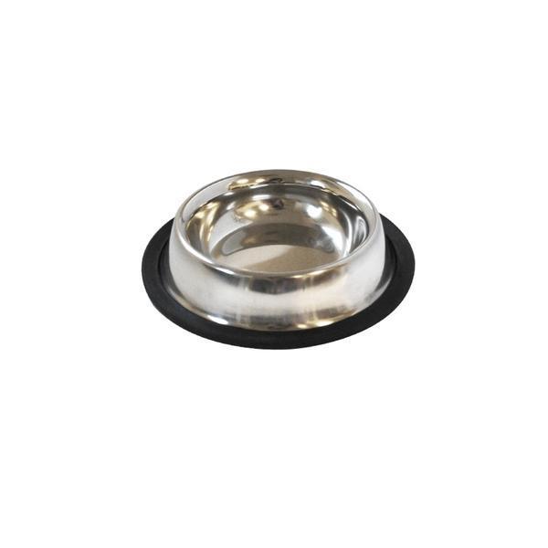 Miska pro zvířata s protiskluzovou gumou, nerez,11 cm