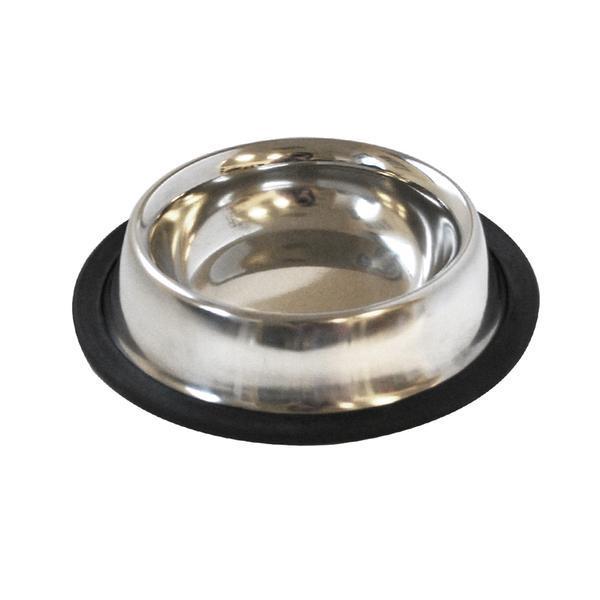 Miska pro zvířata s protiskluzovou gumou, nerez, 21,5 cm