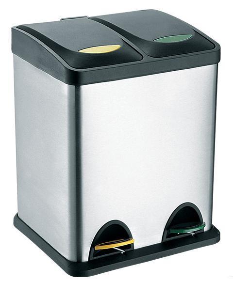 Koš na odpadky nerez, na tříděný odpad, objem 16 l, 40 x 26,5 cm