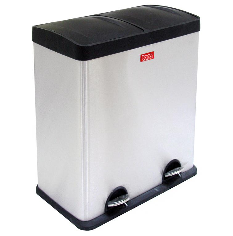 Koš na odpadky nerez, na tříděný odpad, objem 60 l, 31 x 57,5 x 64 cm