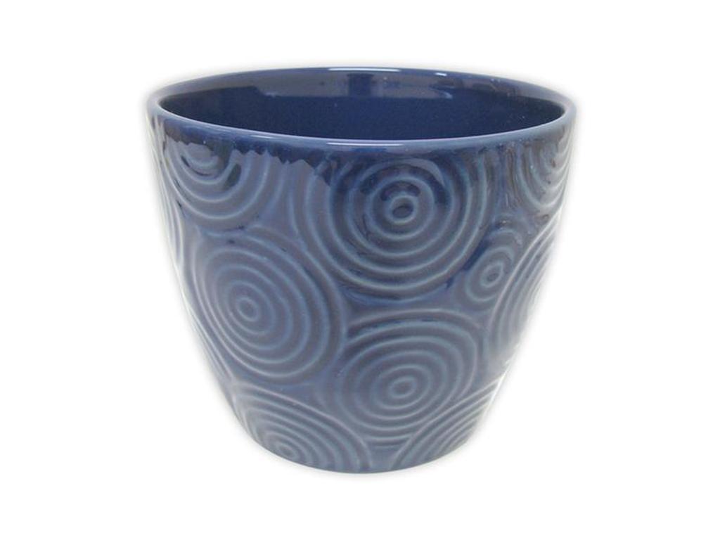 """Keramický obal na květináč """"KRUHY"""" 12,5 x 11 cm - modrý"""