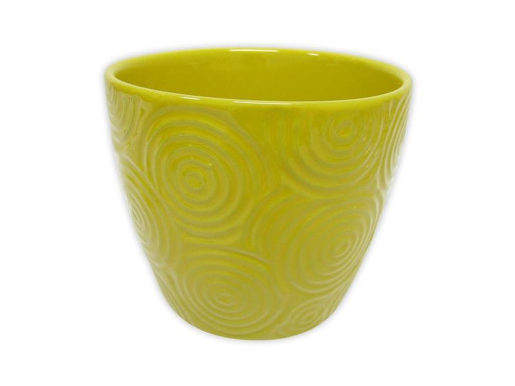 "Keramický obal na květináč ""KRUHY"" 12,5 x 11 cm - žlutý"
