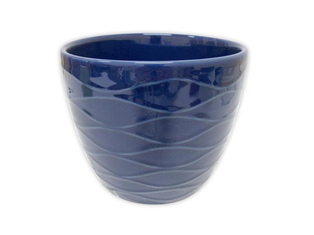 """Keramický obal na květináč """"VLNKY"""" 12,5 x 11 cm - modrý"""