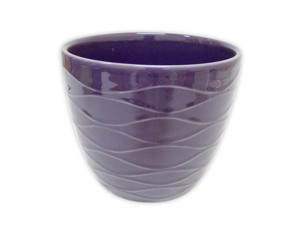 "Keramický obal na květináč ""VLNKY"" 12,5 x 11 cm - purpurový"