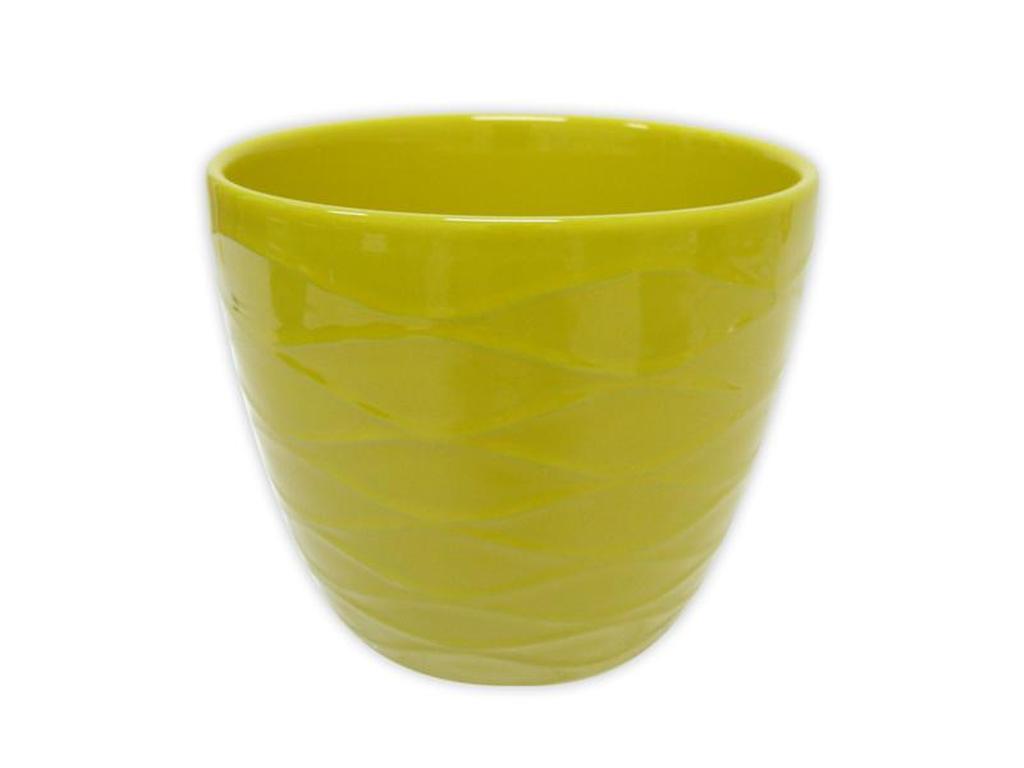 """Keramický obal na květináč """"VLNKY"""" 12,5 x 11 cm - žlutý"""