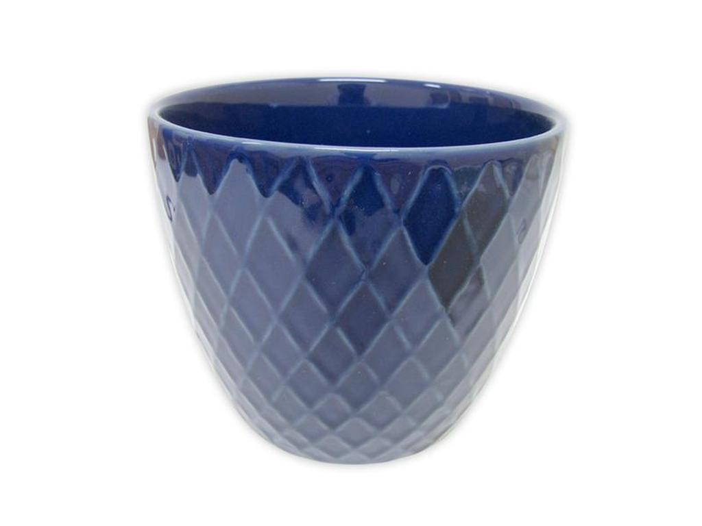 "Keramický obal na květináč ""DIAMANT"" 12,5 x 11 cm - modrý"