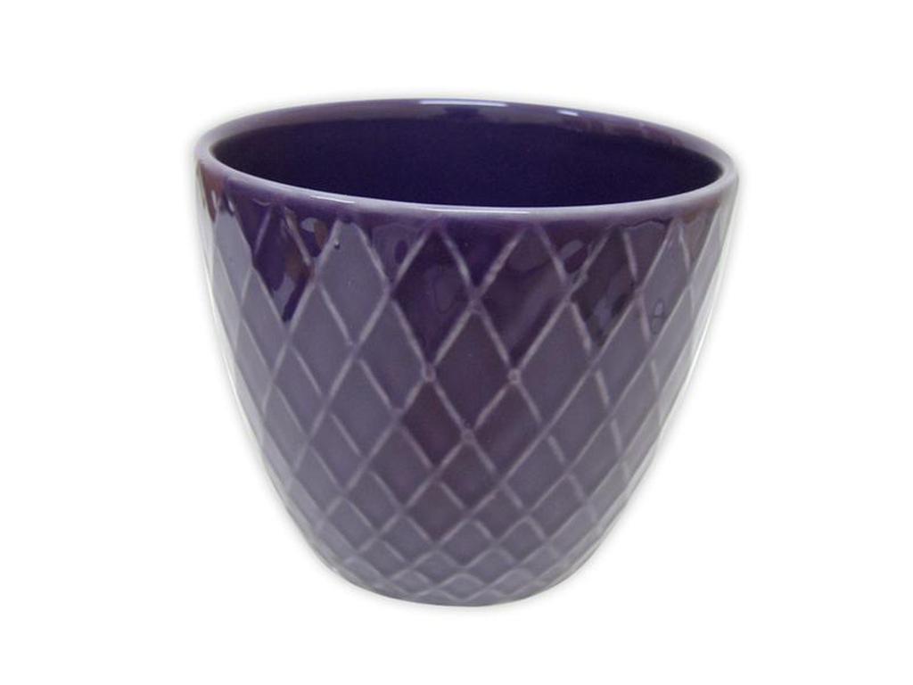 Keramický obal na květináč 12,5 x 11 cm - purpurový