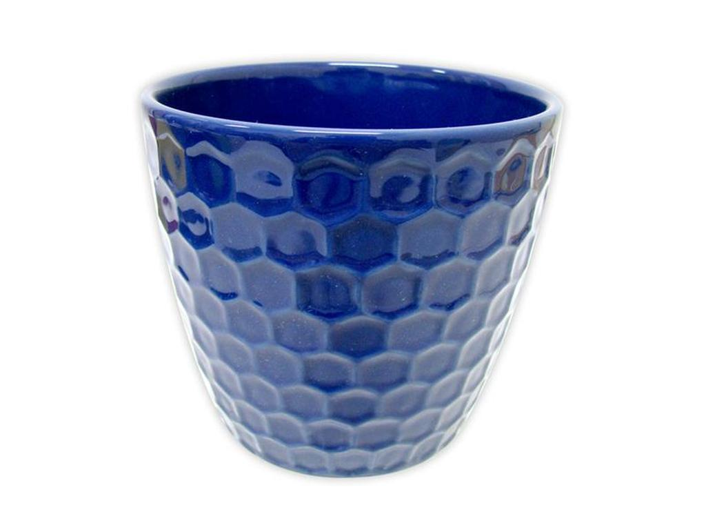 "Keramický obal na květináč ""DIAMANT"" 11 x 10,5 cm - modrý"