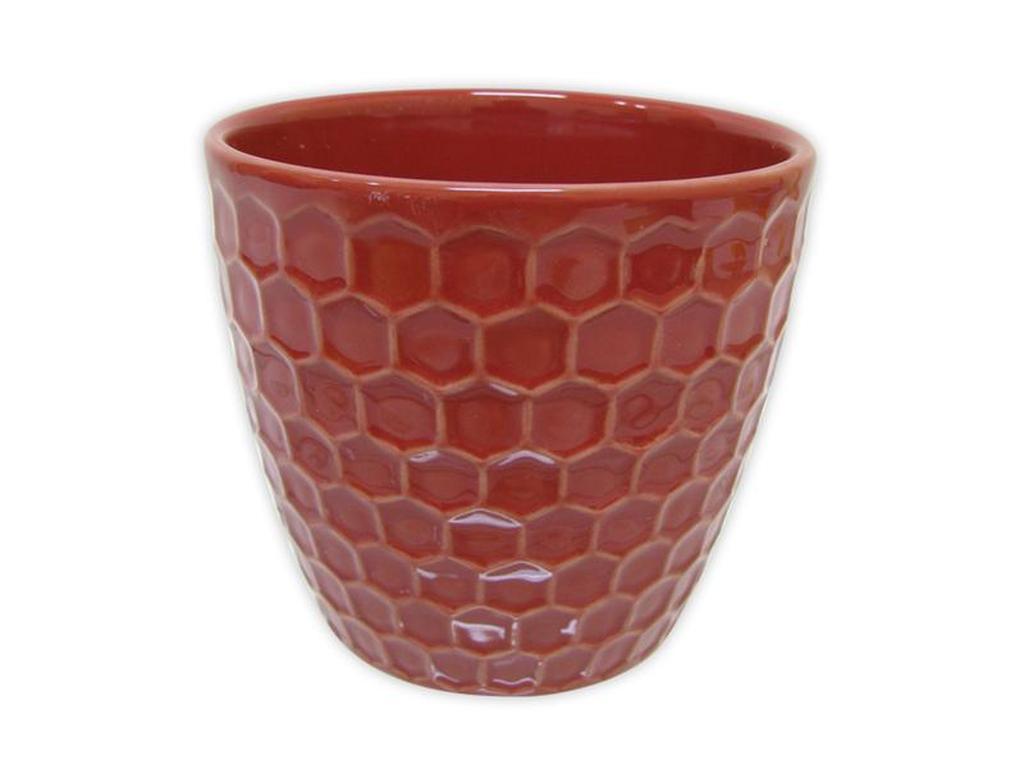 "Keramický obal na květináč ""DIAMANT"" 11 x 10,5 cm - červený"