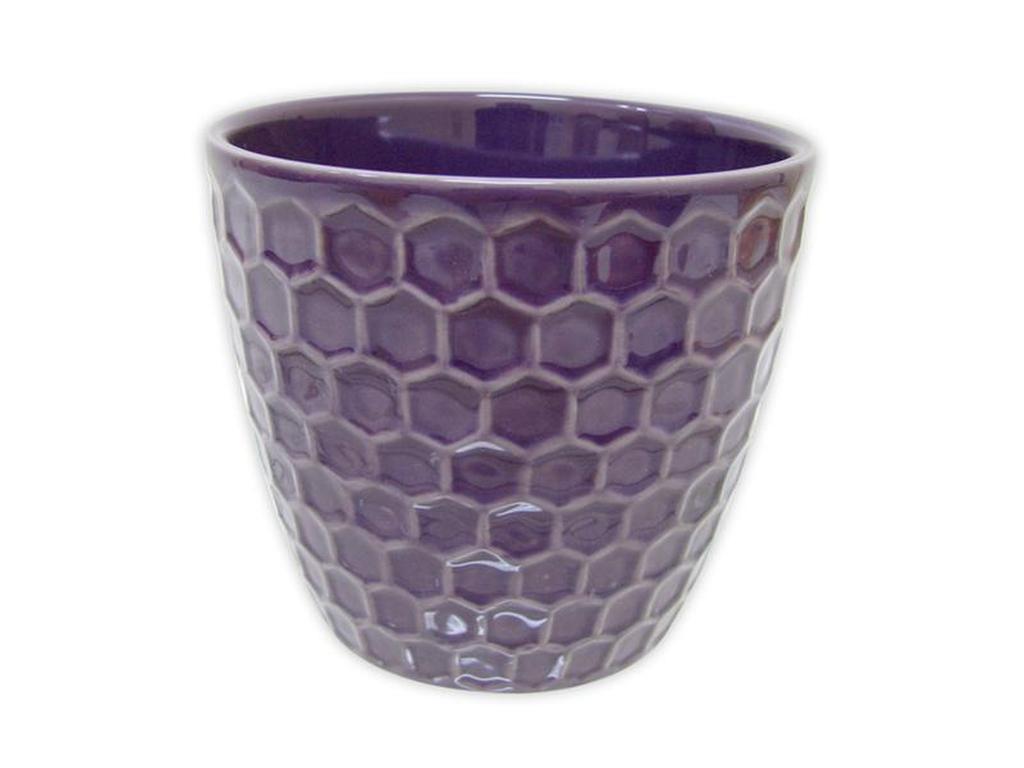"""Keramický obal na květináč """"DIAMANT"""" 11 x 10,5 cm - purpurový"""