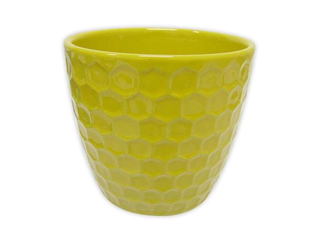 "Keramický obal na květináč ""DIAMANT"" 11 x 10,5 cm - žlutý"