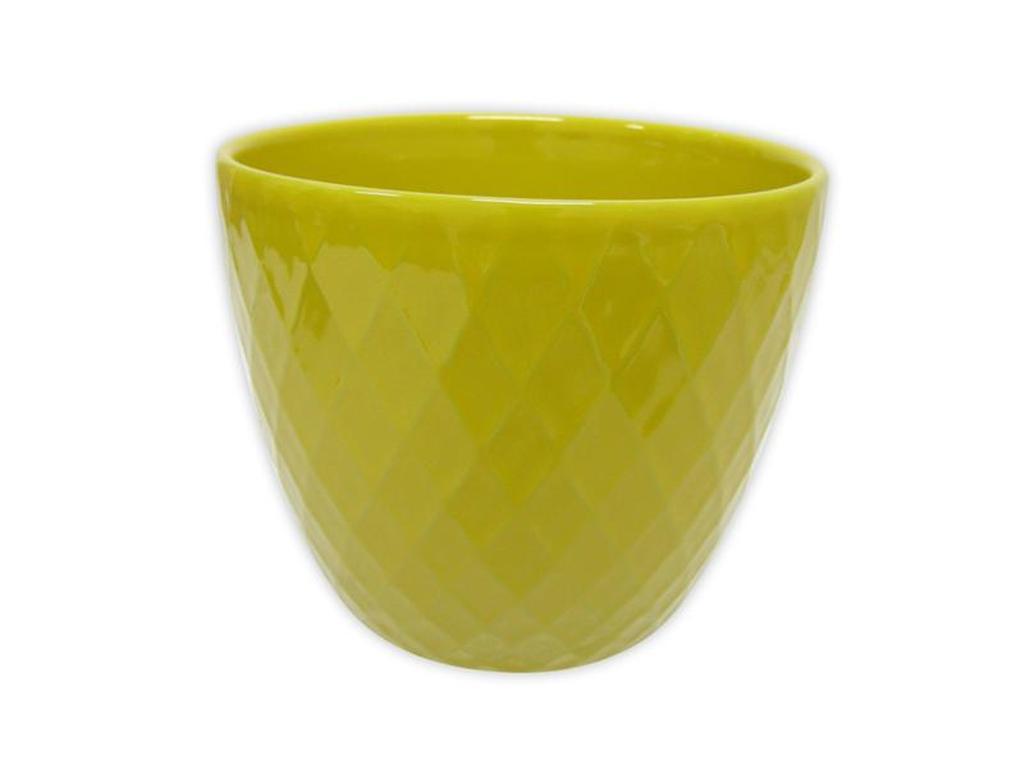 "Keramický obal na květináč ""DIAMANT"" - 11 x 10,5 cm - žlutý"