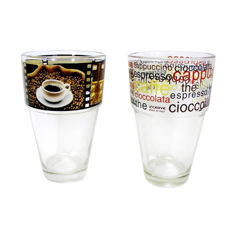 sklenka s motivem kávy, 8,2 x 13,4 cm