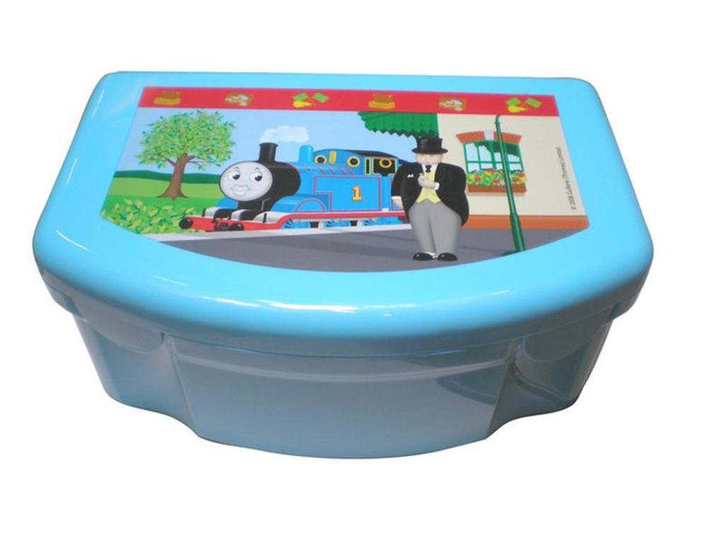 """Svačinový box s víkem - """"mašinka Tomáš"""" - 13,5 x 12 x 8 cm, 550 ml"""
