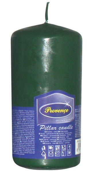 Svíčka parafín válec tmavě zelená, 6, 3 x 12, 5 cm