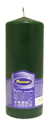 Svíčka parafín válec tmavě zelená, 6, 3 x 16 cm