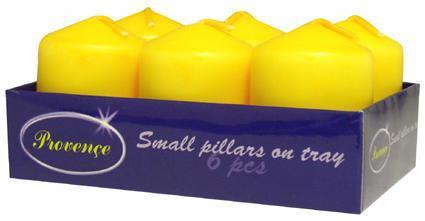 Svíčka válec 6 ks žlutá, 3, 8 x 5, 5 cm