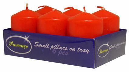 Svíčka válec 6 ks červená, 3, 8 x 5, 5 cm