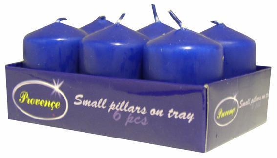 Svíčka váles 6 ks tmavě modrá, 3, 8 x 5, 5 cm