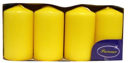 Svíčka válec žlutá 4 ks, 5 x 9 cm