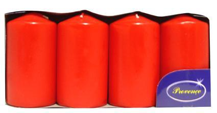 Svíčka válec červená 4 ks, 5 x 9 cm