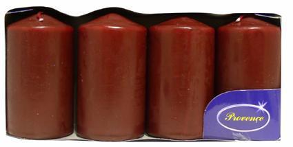 Svíčka válec tmavě červená 4 ks, 5 x 9 cm