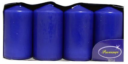 Svíčka válec tmavě modrá 4 ks, 5 x 9 cm