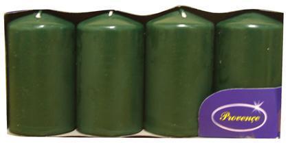 Svíčka válec tmavě zelená 4 ks, 5 x 9 cm