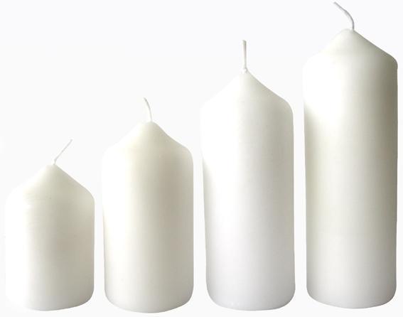 Svíčka adventní bílá 4 velikosti, průměr 4 cm