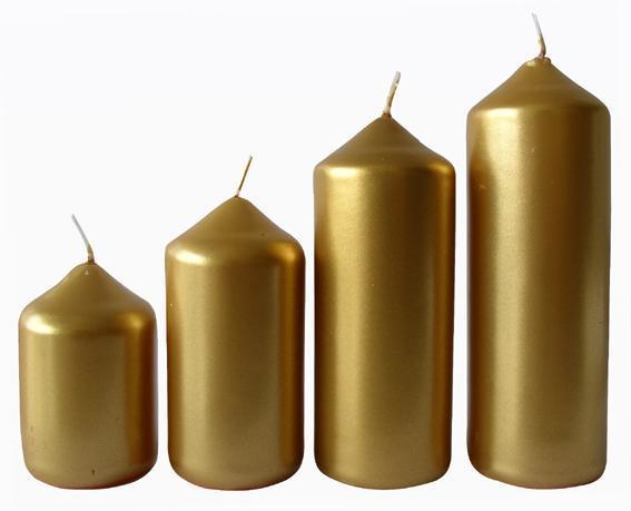 Svíčka adventní zlatá 4 velikosti, průměr 4 cm