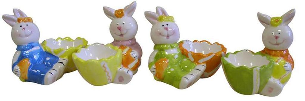 Kalíšek na vajíčko s dekorem velikonoční zajíček, 5, 2 x 3, 7 cm