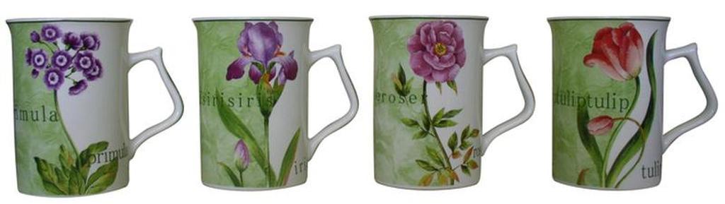 Hrnek s dekorem květin a jejich názvy, objem 330 ml, 7, 7 x 10, 6 cm