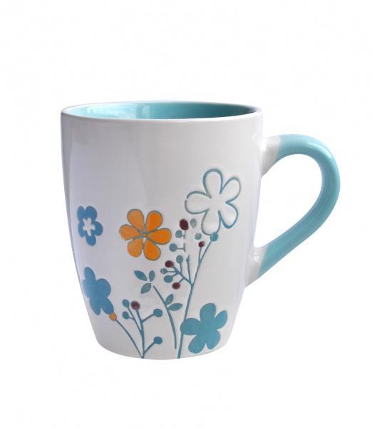 Hrnek s dekorem spirálové květiny, objem 400 ml, 8, 8 x 10, 4 cm