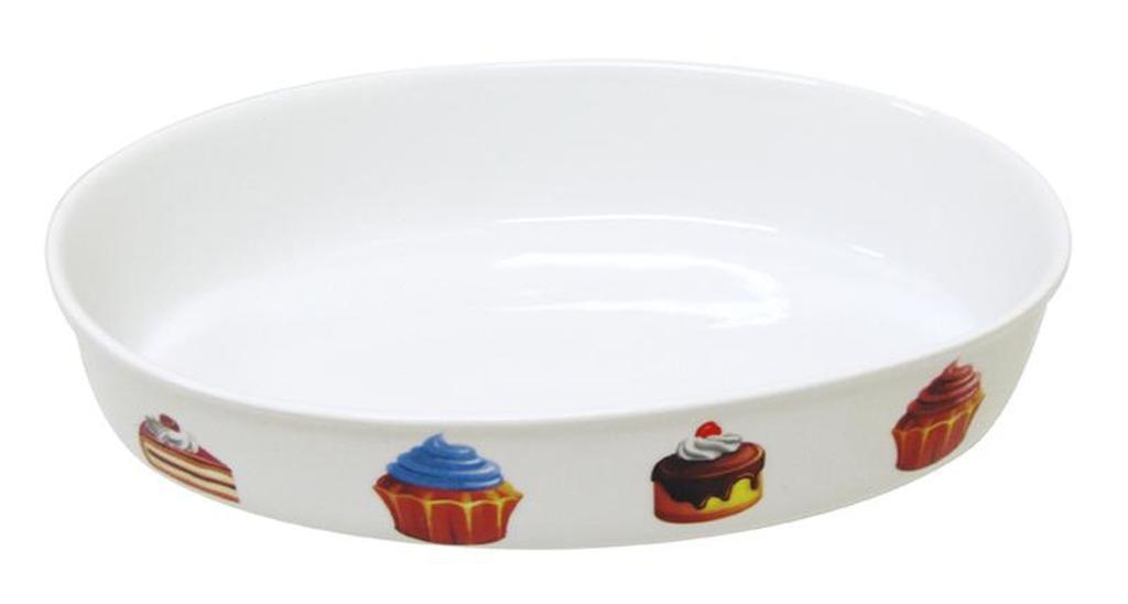 Mísa oválná s dekorem dortíky, objem 1 l, 18, 4 x 27, 3 x 5, 3 cm