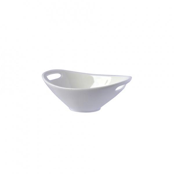 Miska porcelán oválná s uchy, bílá, 12,5 x 8,5 x 4,5 cm