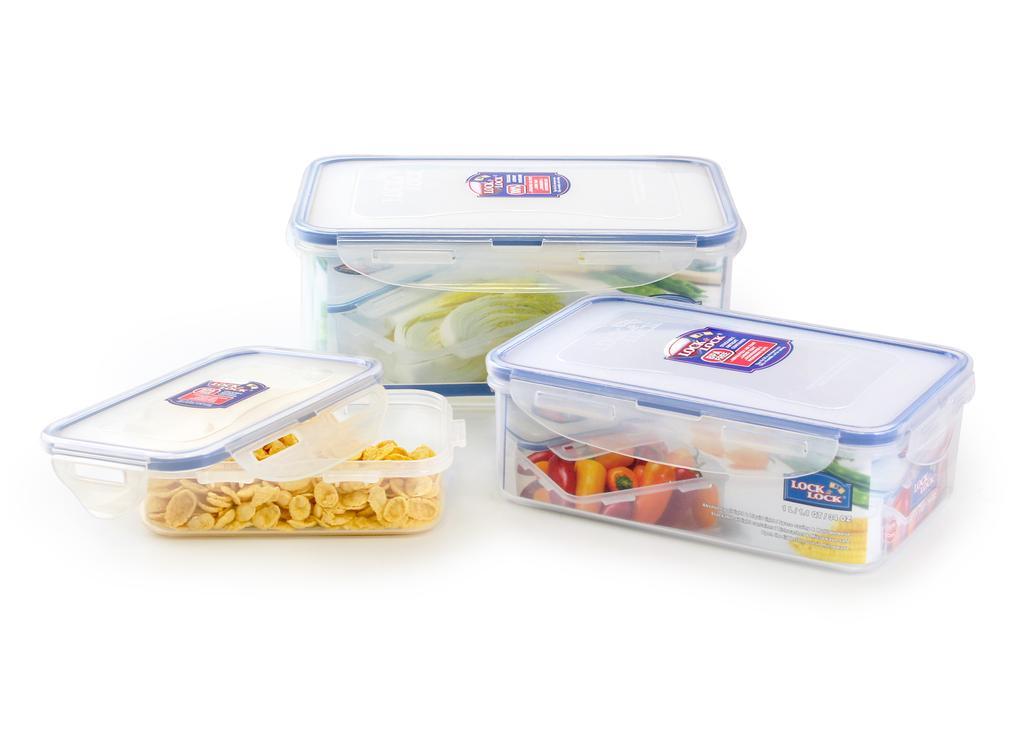 Dóza na potraviny LOCK, set 3 ks, 2,3l/ 1l/ 360ml, plast