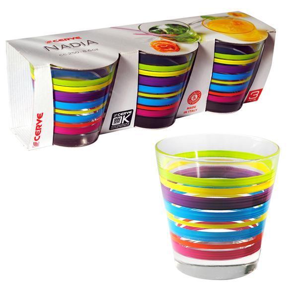 sklenice čirá s potiskem NADIA, 8,5 x 9 cm, objem 250 ml, set 3 ks
