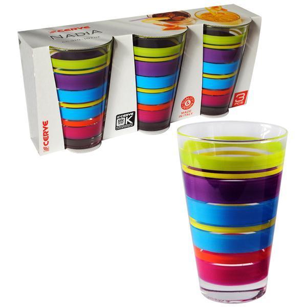 sklenice čirá s potiskem NADIA, 8 x 12,5 cm, objem 310 ml, set 3 ks