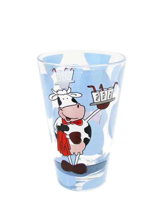 sklenička s motivem krávy, 8 x 12,5 cm