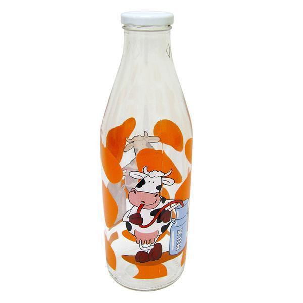 Láhev na mléko s potiskem kráva, 1 L, oranžová